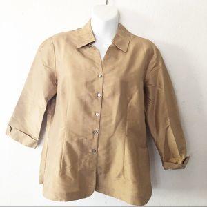 Allison Taylor 100% silk. Gold button down top